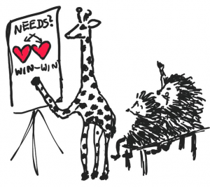 giraffe teaching hedgehogs about needs
